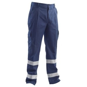 Pantalone blu con bande catarifrangenti