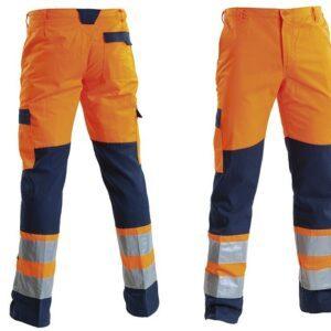 Pantalone alta visibilità bicolore bande rifrangenti